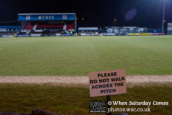 Macclesfield Town 0 Gateshead 4, 22/02/2013. Moss Rose, Football Conference. A notice forbidding access to the pitch before Macclesfield Town host Gateshead at Moss Rose in a Conference National fixture. The visitors from the North East who were in the relegation zone, shocked Macclesfield with four first half goals and won 4-0 in front of 1467 fans. Both teams were former members of the Football league, with Macclesfield dropping out in 2012. Photo by Colin McPherson.