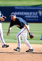 Scott Thorman- Milwaukee Brewers - 2009 spring training.Photo by:  Bill Mitchell/Four Seam Images