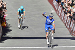 Julian Alaphilippe (FRA) Deceuninck-Quick Step wins Strade Bianche 2019 with Jakob Fuglsang (DEN) Astana Pro Team behind, running 14km from Siena to Siena, held over the white gravel roads of Tuscany, Italy. 9th March 2019.<br /> Picture: Eoin Clarke   Cyclefile<br /> <br /> <br /> All photos usage must carry mandatory copyright credit (© Cyclefile   Eoin Clarke)