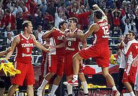 Turkey players celebrates during the semi-final World championship basketball match against Serbia in Istanbul, Serbia-Turkey, Turkey on Saturday, Sep. 11, 2010. (Novak Djurovic/Starsportphoto.com) .