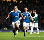 Martyn Waghorn celebrates with Jason Holt after scoring and putting Hibs to the sword at Ibrox