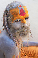 Sadhu at Pashupati Templs and cremation area Kathmandu, Nepal