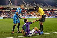Harrison, NJ - Wednesday Aug. 03, 2016: Cristian Alvarez, Jose Pinto Samayoa, Javier Santos during a CONCACAF Champions League match between the New York Red Bulls and Antigua at Red Bull Arena.