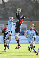 20130127 Copyright onEdition 2013©.Free for editorial use image, please credit: onEdition..Tom Jubb of Saracens secures the ball during the LV= Cup match between Saracens and Cardiff Blues at Allianz Park on Sunday 27th January 2013 (Photo by Rob Munro)..For press contacts contact: Sam Feasey at brandRapport on M: +44 (0)7717 757114 E: SFeasey@brand-rapport.com..If you require a higher resolution image or you have any other onEdition photographic enquiries, please contact onEdition on 0845 900 2 900 or email info@onEdition.com.This image is copyright onEdition 2013©..This image has been supplied by onEdition and must be credited onEdition. The author is asserting his full Moral rights in relation to the publication of this image. Rights for onward transmission of any image or file is not granted or implied. Changing or deleting Copyright information is illegal as specified in the Copyright, Design and Patents Act 1988. If you are in any way unsure of your right to publish this image please contact onEdition on 0845 900 2 900 or email info@onEdition.com