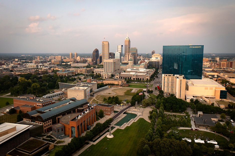 Downtown Indianapolis is pictured from the air on Saturday, Aug. 7, 2021. (Photo by James Brosher)