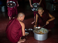 A Monastery in Sagaing, Mandalay, Myanmar Monks preparing the food