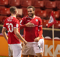 17th February 2021, Oakwell Stadium, Barnsley, Yorkshire, England; English Football League Championship Football, Barnsley FC versus Blackburn Rovers; Carlton Morris of Barnsley celebrates after opening the scoring in the 72nd minute for 1-0