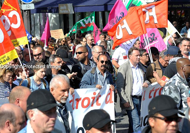 September 21 2017, PARIS FRANCE<br /> Demonstration against the Reform of<br /> Labour Law organized by the CGT Union<br /> whose leader is Philippe Martinez. # MANIFESTATION CONTRE LA LOI TRAVAIL EN FRANCE ANTI