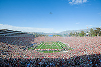 PASADENA, CA - January 1, 2013: B2 Bomber flyover during the National Anthem prior to the Stanford Cardinal vs the Wisconsin Badgers game in the 2013 Rose Bowl Game in Pasadena, California. Final score Stanford 20, Wisconsin 14.