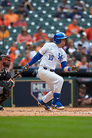 Luke Becker (10) of the Kentucky Wildcats follows through on his swing against the Sam Houston State Bearkats during game four of the 2018 Shriners Hospitals for Children College Classic at Minute Maid Park on March 3, 2018 in Houston, Texas. The Wildcats defeated the Bearkats 7-2.  (Brian Westerholt/Four Seam Images)