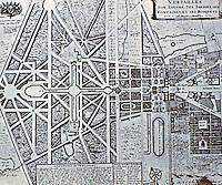 Plan of Gardens, Versailles. 1669-1685. Designers: André Le Nôtre; Charles Le Brun; Louis Le Vau; Jules Hardouin-Mansart