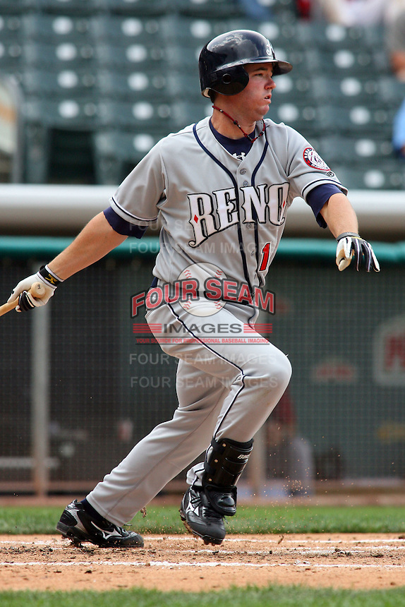 May 30, 2009:  Bryan Byrne of the Reno Aces, Pacific Cost League Triple A affiliate of the Arizona Diamondbacks, during a game at the Spring Mobile Ballpark in Salt Lake City, UT.  Photo by:  Matthew Sauk/Four Seam Images