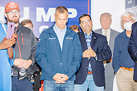 Former 2016 Trump campaign manager and current 2020 Trump campaign senior advisor Corey Lewandowski waits to speak about the ongoing campaign at a Trump campaign office opening party in Salem, New Hampshire, on Fri., Sept. 18, 2020. Lewandowski lives in nearby Windham, NH, and attended the party which also served as a surprise birthday party for him.