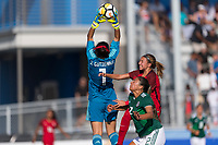 Bradenton, FL - Sunday, June 12, 2018: Jaidy Guiterrez, Reyna Reyes, Talia DellaPeruta during a U-17 Women's Championship Finals match between USA and Mexico at IMG Academy.  USA defeated Mexico 3-2 to win the championship.