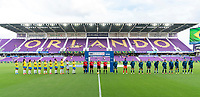 ORLANDO, FL - FEBRUARY 18: Brazil and Argentina stand on the field before a game between Argentina and Brazil at Exploria Stadium on February 18, 2021 in Orlando, Florida.