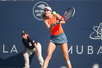 San Jose, CALIFORNIA - Friday August 3, 2018: Victoria Azarenka won the first set but retired with a back injury in the second set. Danielle Collins plays the semi-final on Saturday night at Silicon Valley Classic in San Jose.