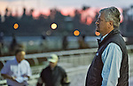 October 26, 2014: Trainer Steve Asmussen watches morning workouts at Santa Anita Race Course in Arcadia, California on October 26, 2014. Scott Serio/ESW/CSM