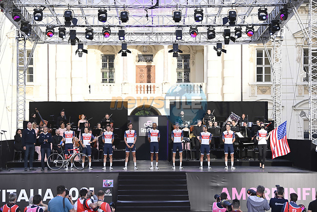 Trek-Segafredo on stage at team presentation of the 2021 Giro d'Italia inside the Cortile d'Onore of the Castello del Valentino, on the occasion of the 160th anniversary of the Unification of Italy, Turin, Italy. 6th May 2021.  <br /> Picture: LaPresse/Fabio Ferrari   Cyclefile<br /> <br /> All photos usage must carry mandatory copyright credit (© Cyclefile   LaPresse/Fabio Ferrari)