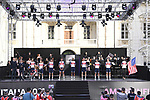 Trek-Segafredo on stage at team presentation of the 2021 Giro d'Italia inside the Cortile d'Onore of the Castello del Valentino, on the occasion of the 160th anniversary of the Unification of Italy, Turin, Italy. 6th May 2021.  <br /> Picture: LaPresse/Fabio Ferrari | Cyclefile<br /> <br /> All photos usage must carry mandatory copyright credit (© Cyclefile | LaPresse/Fabio Ferrari)
