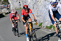 14th March 2021, Levens, France;  BERNARD Julien (FRA) of Trek - Segafredo and BARGUIL Warren (FRA) of Team Arkea Samsic, MADER Gino (SUI) of Bahrain - Victorious during stage 8 of the 79th edition of the 2021 Paris - Nice cycling race, a stage of 92,7 kms between Plan-du-Var and Levens on March 14, 2021 in Levens, France