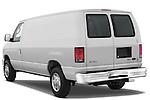Rear three quarter view of a 2009 Ford E 150 Cargovan