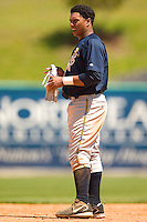 Charleston River Dogs right fielder Jose Tabata (#39) between innings at Fieldcrest Cannon Stadium in Kannapolis, NC, Monday, May 1, 2006.