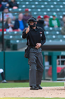 Umpire Chris Graham during an International League game between the Indianapolis Indians and Columbus Clippers on April 29, 2019 at Victory Field in Indianapolis, Indiana. Indianapolis defeated Columbus 5-3. (Zachary Lucy/Four Seam Images)