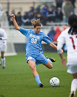North Carolina midfielder Tobin Heath (98) strikes the ball. North Carolina defeated Stanford 1-0 to win the 2009 NCAA Women's College Cup at the Aggie Soccer Stadium in College Station, TX on December 6, 2009.
