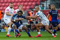 21st August 2020; AJ Bell Stadium, Salford, Lancashire, England; English Premiership Rugby, Sale Sharks versus Exeter Chiefs; Marland Yarde of Sale Sharks is tackeld by Jonny Gray and Olly Woodburn of Exeter Chiefs
