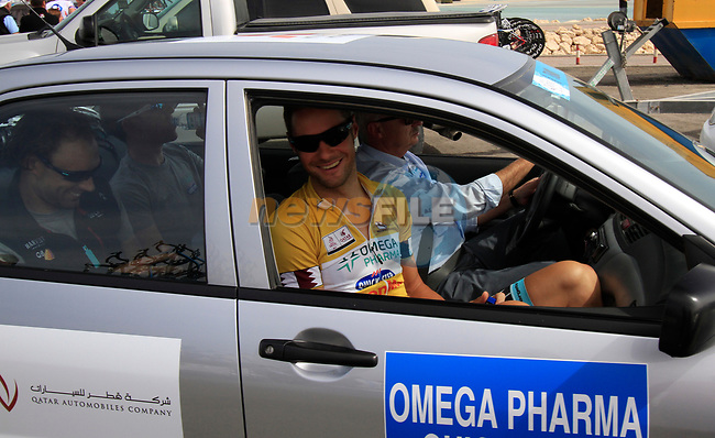Omega Pharma-Quick Step rider race leader Tom Boonen (BEL) arrives before the start of Stage 4 of the 2012 Tour of Qatar from Al Thakhira to Madinat Al Shamal, Qatar. 8th February 2012.<br /> (Photo Eoin Clarke/Newsfile)