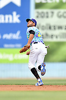 Asheville Hippies shortstop Carlos Herrera (2) reacts to the ball during a game against the Greenville Drive at McCormick Field on June 29, 2017 in Asheville, North Carolina. The Drive defeated the Tourists 9-6. (Tony Farlow/Four Seam Images)