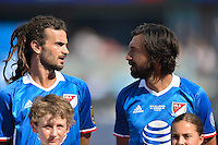 San Jose, CA - Thursday July 28, 2016: Kyle Beckerman, Andrea Pirlo prior to a Major League Soccer All-Star Game match between MLS All-Stars and Arsenal FC at Avaya Stadium.