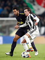 Football Soccer: UEFA Champions League Juventus vs Tottenahm Hotspurs FC Round of 16 1st leg, Allianz Stadium. Turin, Italy, February 13, 2018. <br /> Juventus' Federico Bernardeschi (r) in action with Tottenham's Mousa Dembélé (l) during the Uefa Champions League football soccer match between Juventus and Tottenahm Hotspurs FC at Allianz Stadium in Turin, February 13, 2018.<br /> UPDATE IMAGES PRESS/Isabella Bonotto