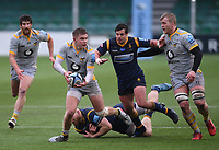 14th February 2021; Sixways Stadium, Worcester, Worcestershire, England; Premiership Rugby, Worcester Warriors versus Wasps; Charlie Atkinson of Wasps gets around Matt Kvesic of Worcester Warriors to offload the ball