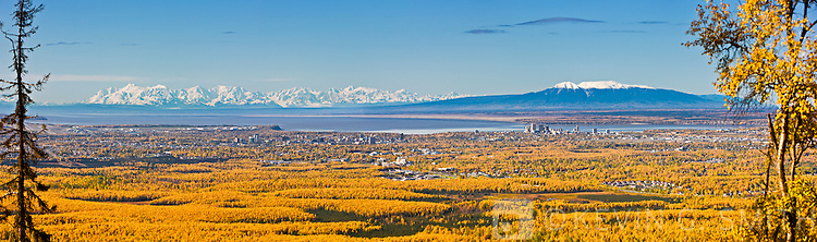 View of downtown Anchorge from the hillside with Mount Susitna in the background, fall Anchorage, Southcentral Alaska, USA.