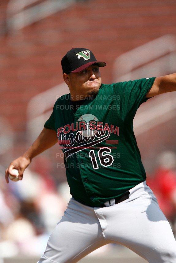 Hector Ambriz of the Visalia Oaks during a California League baseball game on May 20, 2007 at The Epicenter in Rancho Cucamonga, California. (Larry Goren/Four Seam Images)