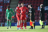 Conor Wilkinson of Leyton Orient speaks to the referee at the final whistle during Leyton Orient vs Walsall, Sky Bet EFL League 2 Football at The Breyer Group Stadium on 5th April 2021