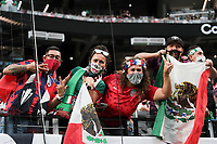 LAS VEGAS, NV - AUGUST 1: Mexico and USA fans before a game between Mexico and USMNT at Allegiant Stadium on August 1, 2021 in Las Vegas, Nevada.