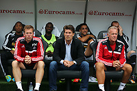 Thursday 01 August 2013<br /> Pictured: (L-R) Morten Wieghorst, Michael Laudrup, Alan Curtis.<br /> Re: Swansea City FC v Malmo FF, UEFA Europa League, 3rd Qualifying Round, 1st Leg, at the Liberty Stadium, Swansea, south Wales, UK.