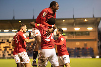 Morecambe celebrate with goalscorer Yann Songo'o of Morecambe during Colchester United vs Morecambe, Sky Bet EFL League 2 Football at the JobServe Community Stadium on 19th December 2020