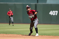 Arizona Diamondbacks second baseman Jose Caballero (13) makes a throw to first base during an Instructional League game against the Kansas City Royals at Chase Field on October 14, 2017 in Phoenix, Arizona. (Zachary Lucy/Four Seam Images)