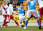 St Johnstone v Kilmarnock…25.02.17     SPFL    McDiarmid Park<br />David Wotherspoon is tackled by Rory McKenzie<br />Picture by Graeme Hart.<br />Copyright Perthshire Picture Agency<br />Tel: 01738 623350  Mobile: 07990 594431