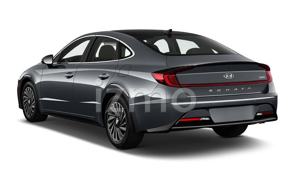 Car pictures of rear three quarter view of 2020 Hyundai Sonata-Hybrid Limited 4 Door Sedan Angular Rear