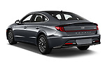 Car pictures of rear three quarter view of 2020 Hyundai Sonata-Hybrid Limited 4 Door Sedan Angular Rear