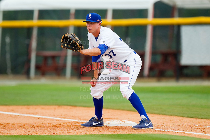 Burlington Royals first baseman Bobby Fisher-Brown (37) on defense against the Greeneville Astros at Burlington Athletic Park on July 1, 2013 in Burlington, North Carolina.  The Astros defeated the Royals 7-0 in Game One of a doubleheader.  (Brian Westerholt/Four Seam Images)