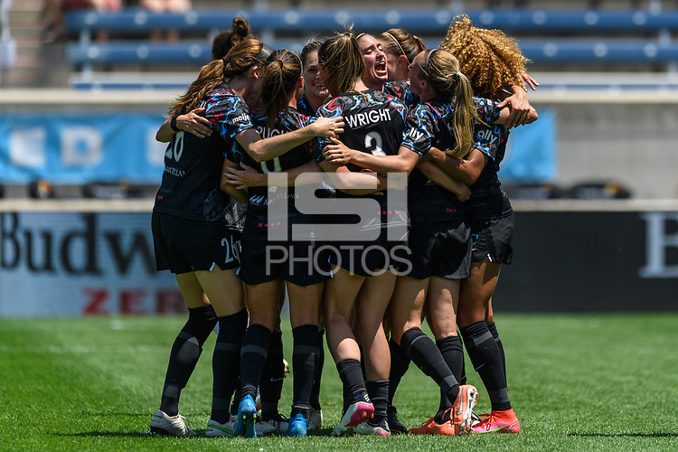 BRIDGEVIEW, IL - JUNE 5: Rachel Hill #5 of the Chicago Red Stars of the Chicago Red Stars celebrates her goal with teammates during a game between North Carolina Courage and Chicago Red Stars at SeatGeek Stadium on June 5, 2021 in Bridgeview, Illinois.