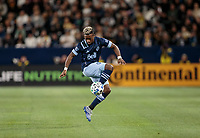 CARSON, CA - MARCH 07: Cristian Dajome #11 of the Vancouver Whitecaps traps a ball during a game between Vancouver Whitecaps and Los Angeles Galaxy at Dignity Health Sports Park on March 07, 2020 in Carson, California.