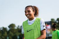 CARY, NC - SEPTEMBER 12: Jazmeen Ryan #23 of the Portland Thorns warms up during a game between Portland Thorns FC and North Carolina Courage at Sahlen's Stadium at WakeMed Soccer Park on September 12, 2021 in Cary, North Carolina.