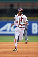 Dylan Busby (28) of the Florida State Seminoles rounds the bases after hitting a home run against the Duke Blue Devils in the first semifinal of the 2017 ACC Baseball Championship at Louisville Slugger Field on May 27, 2017 in Louisville, Kentucky. The Seminoles defeated the Blue Devils 5-1. (Brian Westerholt/Four Seam Images)