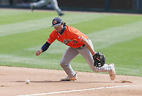 Auburn Tyler Miller (10) makes a catch, Saturday, April 3, 2021 during the fourth inning of a baseball game at Baum-Walker Stadium in Fayetteville. Check out nwaonline.com/210404Daily/ for today's photo gallery. <br /> (NWA Democrat-Gazette/Charlie Kaijo)